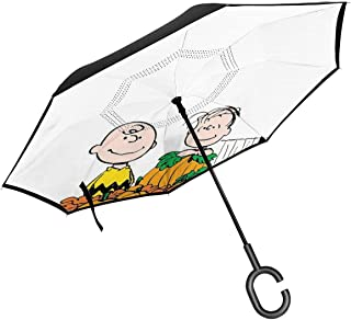 Inverted Umbrellas Snoopy And Charlie Brown Happy Fall Reverse Folding Umbrella Windproof UV Protection Big Straight Umbrella For Car Rain Outdoor With C-Shaped Handle