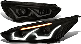For Ford Focus Black Housing Smoked Lens Clear Signal Dual U-HALO DRL + LED Turn Signal Projector Headlight