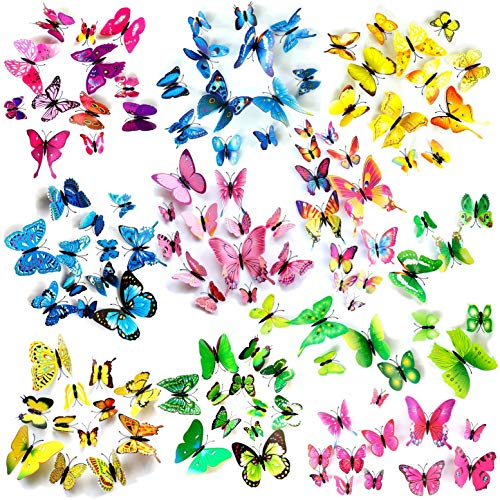 JZK 120 x 3D Plastica magnetica farfalla con magnete e adesivo per decorazione della parete, artigianato arte e festa decorazioni, 3D farfalla adesivi murali per camera ufficio giardino decorazione