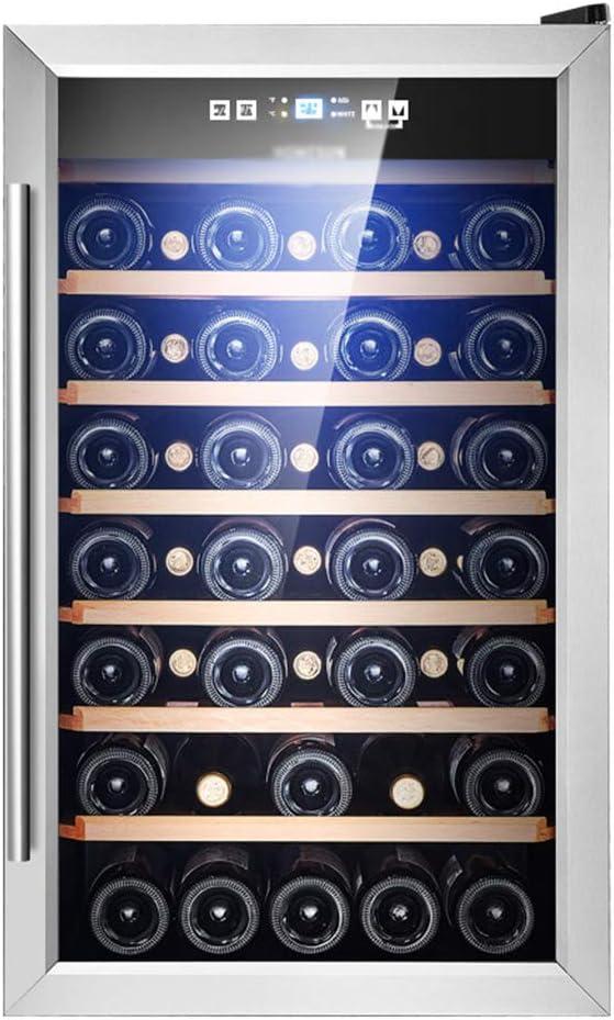 hanzeni Nevera Vino, Compresor Independiente Estante para Refrigerador De Vino De Gran Capacidad, Vidrio Templado De Doble Capa, Temperatura Y Humedad Constantes, Protección para Niños