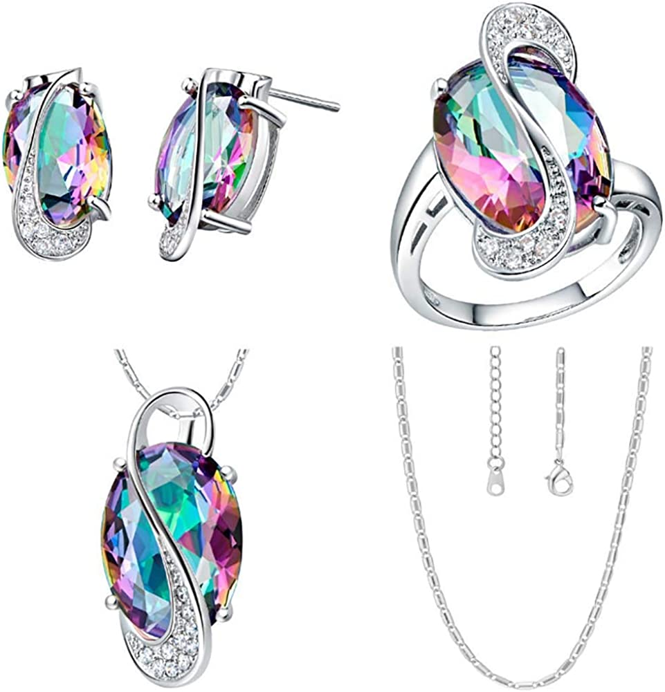 Jewelry Sets for Women, Fashion Rainbow Faux Topaz Pendant Necklace Earrings Ring Jewelry Set - Blue US 6
