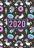 Agenda semana vista 2020: Del 1 de enero de 2020 al 31 de diciembre de 2020: Diario, organizador y planificador con vista semanal y mensual español: Unicornios y Helados 908-9