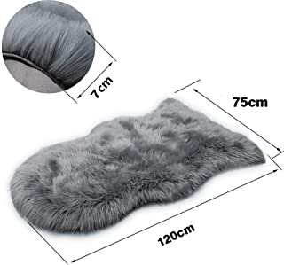 MIOLY Deluxe Soft Faux Sheepskin Fur Chair Couch Cover Shaggy Seat Pad Area Rugs for Bedroom Floor Sofa Living Room (Gray, 2.5 x 3.9 ft)