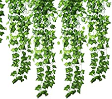 GoFriend 12 Strands (83 Feet) Artificial Ivy Garland Foliage Green Leaves Fake Hanging Vine Plant for Wedding Party...
