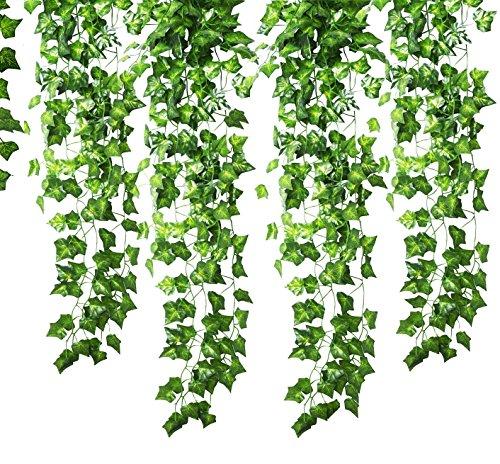 GoFriend Lot de 12 guirlandes de Lierre Artificiel à Suspendre - 12 brins (25,2 m) - Feuilles Vertes - Plante Artificielle à Suspendre - pour fête de Mariage, Jardin, décoration Murale