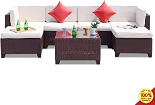 MIERES 7 Pieces Outdoor Rattan Patio Furniture Set, Modern Wicker Conversation Sectional Sofa Chairs with Cushioned Couch, Brown