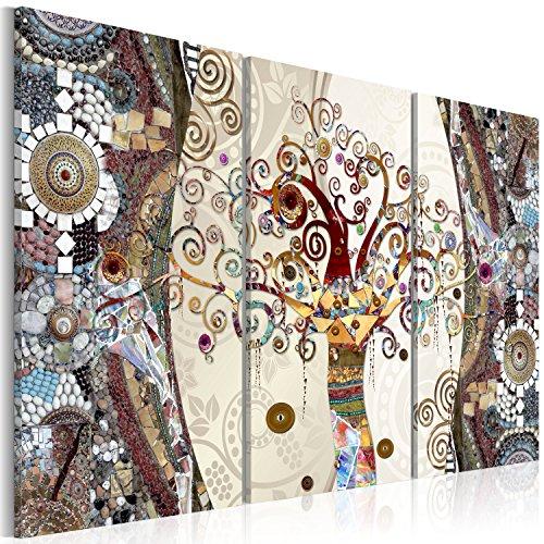 murando - Cuadro en Lienzo 90x60 cm - Mosaico Impresión de 3 Piezas Material Tejido no Tejido Impresión Artística Imagen Gráfica Decoracion de Pared - Gustav Klimt Baum l-C-0002-b-f