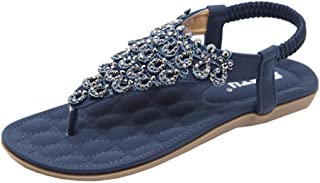 Ansenesna Sandalias Mujer Verano 2018 Vestir Tacon Bajo Zapatos De Mujer Plana De Perlas Bohemia Lady Slippe Sandalias Peep-Toe Zapatos De Exterior