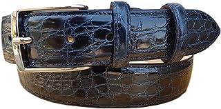 ESPERANTO Cintura Uomo in fianco di Coccodrillo, fodera in pelle vero cuoio nabuck-fibbia nichel free anallergica 35 mm