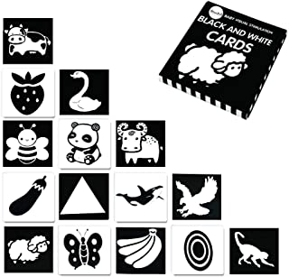 Youwo Black and White Flash Card for Baby 24 Cards 48 Pages 5.4'' x 5.4'' Baby Visual Stimulation High Contrast Baby Card 0-24 Months.