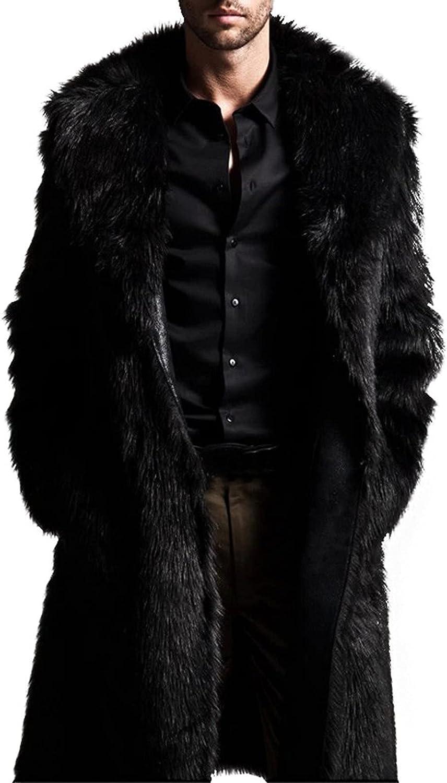 Fleece Hoodie Jacket for Men Warm Thickening Long Coat Jacket Faux-Fur Outwear Cardigan Parka Trench Windbreaker