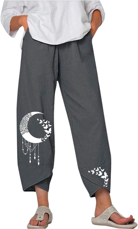 DESKABLY Women Lounge Pants Wide Linen Milwaukee Mall Elastic Leg Complete Free Shipping Cotton