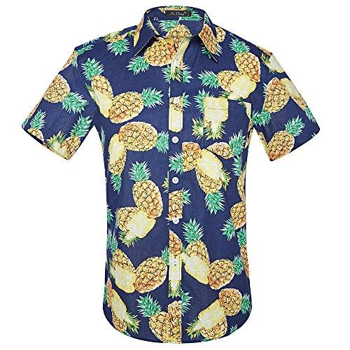 ZhuiKun Camisa Hawaiana Manga Corta para Hombre (E, S)