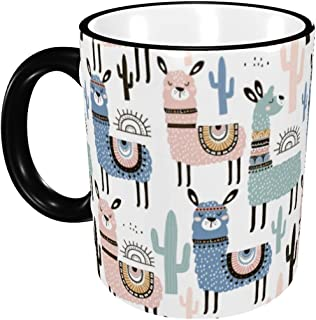 Coffee Mug Ceramic Alpacas and Llamas Tea Cups with Handle for Travel Cappuccino Latte Hot Cocoa Women Men Gift 12 Oz