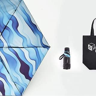 Ultra-Light Portable Folding Umbrella Rain and Rain Dual-use Rain Mini Sun Umbrella Anti-mite UV Blue, Red Optional HYBKY (Color : Blue)