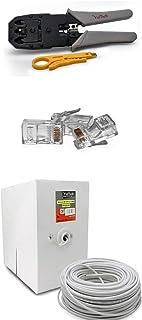 MYSMARTSHOP Kit Pince à sertir + Câble LAN 305m Cat. 5e + 100Plug RJ45