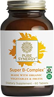 Pure Synergy Super B-Complex (60 Tablets) B Vitamin Made w/Organic Fruits & Veggies