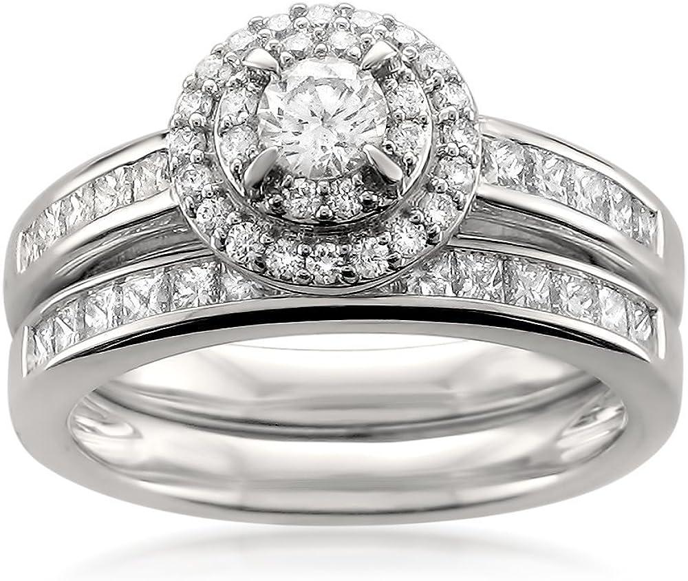 14k Sale item White Gold Round Max 68% OFF Princess-cut Brid Engagement Halo Diamond