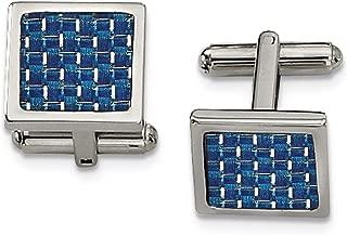 Lex & Lu Chisel Stainless Steel Blue Carbon Fiber Cuff Links