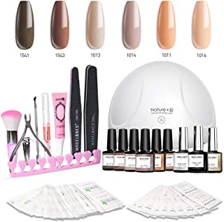 Modelones Gel Nail Polish Kit with UV Light - 6 Nude Colors in 10ML, 24W Nail Lamp, Matte Top Coat, Base and Top Coat, Upgraded Manicure Tools