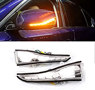 PGONE LED Rear Amber Mirror Sequential Turn Signal DRL White Light Parking Puddle Light Lamp Kit For Infiniti Q50 Q60 Q70 QX30