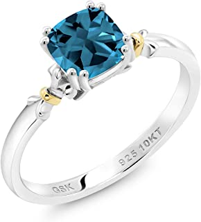 Gem Stone King 925 Silver and 10K Yellow Gold London Blue Topaz Women's Women Engagement Ring (1.18 Cttw, Gemstone Birthstone, 6MM Cushion, Available in size 5, 6, 7, 8, 9)