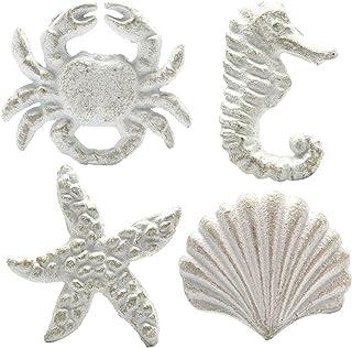 Haidong Unique Retro Cast Iron Handle Seashell Seahorse Starfish Scallop Single Hole Door Handle Drawer Handle(Set of 4) (...