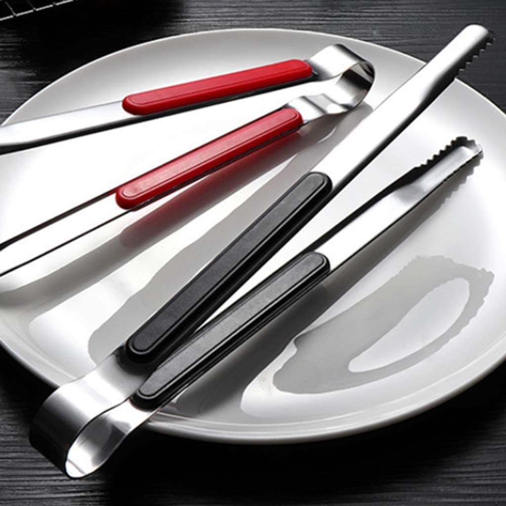 Pince pour barbecue en acier inoxydable - Pince à glace, viande, toast, pain As Shown Noir Orange