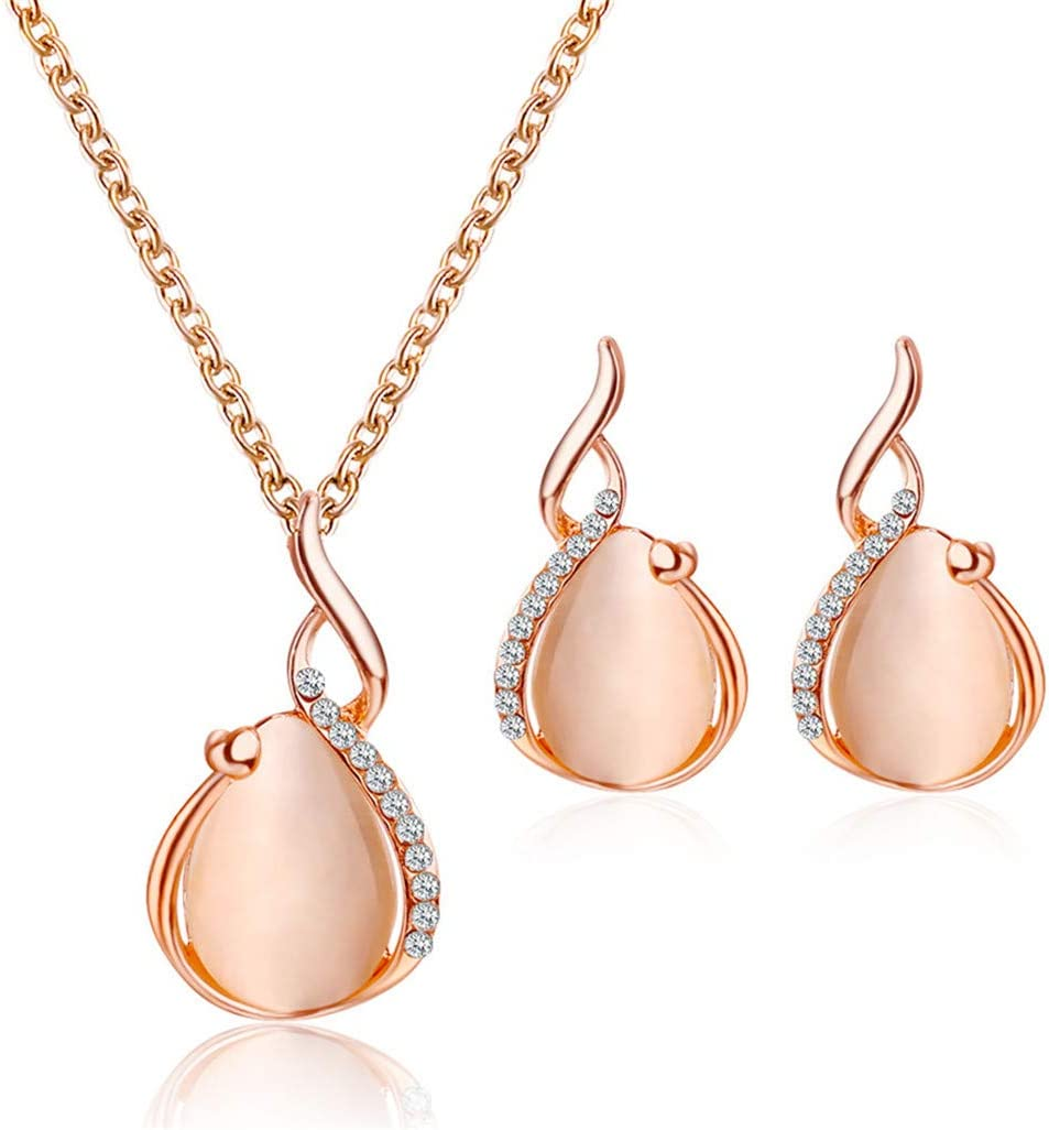 WEILYDF 2 Pcs/Set Simple Delicate Crystal Opal Necklace Earring Set Women Jewelry Birthday Gift