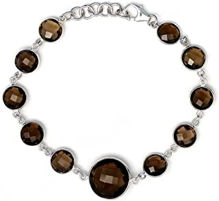 25.00 Ct 925 Sterling Silver Smokey Quartz 8MM With 14MM Center Stone Tennis Bracelet 7 Inches + 1 Inch extender