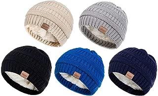 Fleece Lined Baby Beanie Hat, Infant Newborn Toddler Kids Winter Warm Knit Cap for Boys Girls