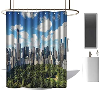 shower curtains for bathroom polyester NYC Decor Collection,Central Park View To Manhattan At Sunny Day Skyline Clouds Crowded City Cityscape,Green Blue White Patterned Shower Curtain W63