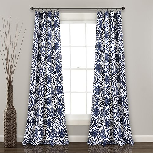 "Lush Decor Marvel Room Darkening Window Curtain Panel Pair, 84"" x 52"", Navy"