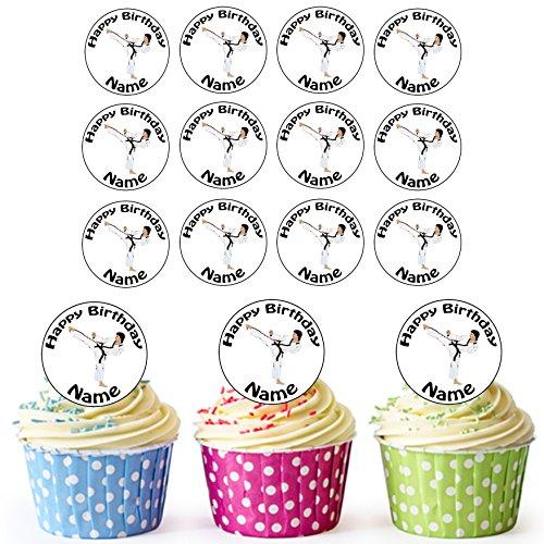 Karate Kick 24 Personalisierte Vorgeschnittene Kreise - Essbare Cupcake Aufleger / Geburtstagskuchen Dekorationen
