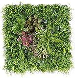 Jardín Vertical Artificial Interior 75x75cm Fácil instalación, Tornillos incluidos,sin Mantenimiento, Fabricado con Plantas Artificiales, máximo 25 cm de Grosor
