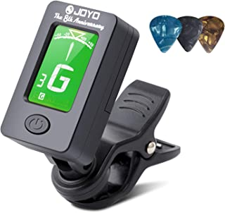 BROTOU Guitar Tuner Clip-On Tuner Digital Electronic Tuner Acoustic with LCD Display for Guitar, Bass, Violin, Ukulele (3 PCS Picks Included) (three) (JT-01)