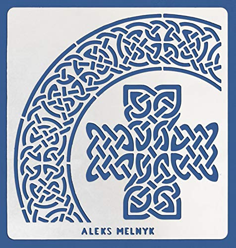 Aleks Melnyk #38.3 Metal Journal Stencil/Celtic Knot, Cross, Scandinavian, Viking Symbols/Stainless Steel Irish Stencil/Template Tool for Wood Burning, Pyrography and Engraving/Crafting/DIY