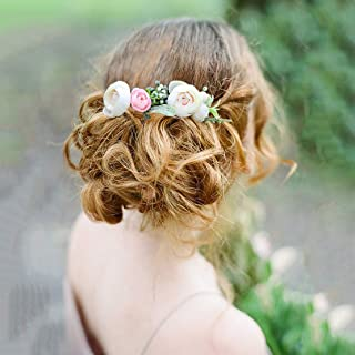 Fangsen Wedding Flower Comb Berries and Greenery Hair Comb Bridal Headpiece Woodland Hair Accessories for Brides and Bridesmaids (White)