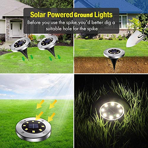 Solar Ground Lights - 8 Led Solar Garden Lights Outdoor,Disk Lights Waterproof In-Ground Outdoor Landscape Lighting for Lawn Patio Pathway Yard Deck Walkway Flood Light Dekugaa (8)