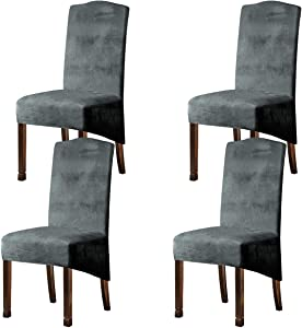Velvet Plush XL Dining Chair Covers, Stretch Chaircover, Spandex High Chairs Protector Covers Seat Slipcover with Elastic Band for Dining Room,Wedding, Ceremony, Banquet (Light Grey, Set of 4)