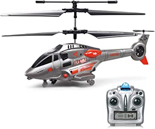 VATOS RC Helicopter, Remote Control Helicopter with Gyro and LED Light 3.5 Channel Alloy Mini Military Series Helicopter for Kids & Adult Ind