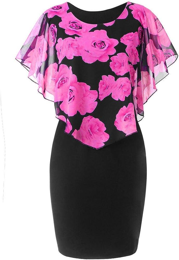 Quealent Women's Elegant Print O-Neck Mini Party Dress Plus Size