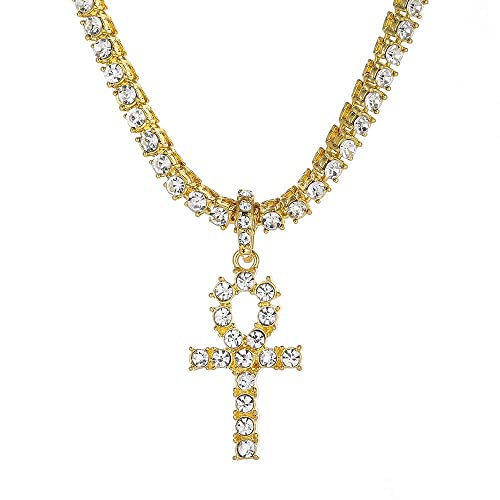 183319196010 AOVR Hip Hop Cuban Chain 14k Gold Silver Plated CZ Crystal Fully Iced-Out  Egyptian