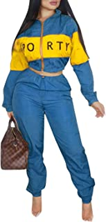 Women 2 Piece Outfits Tracksuit Zip Up Hoodie Sweatpants Set Bodycon Jumpsuits