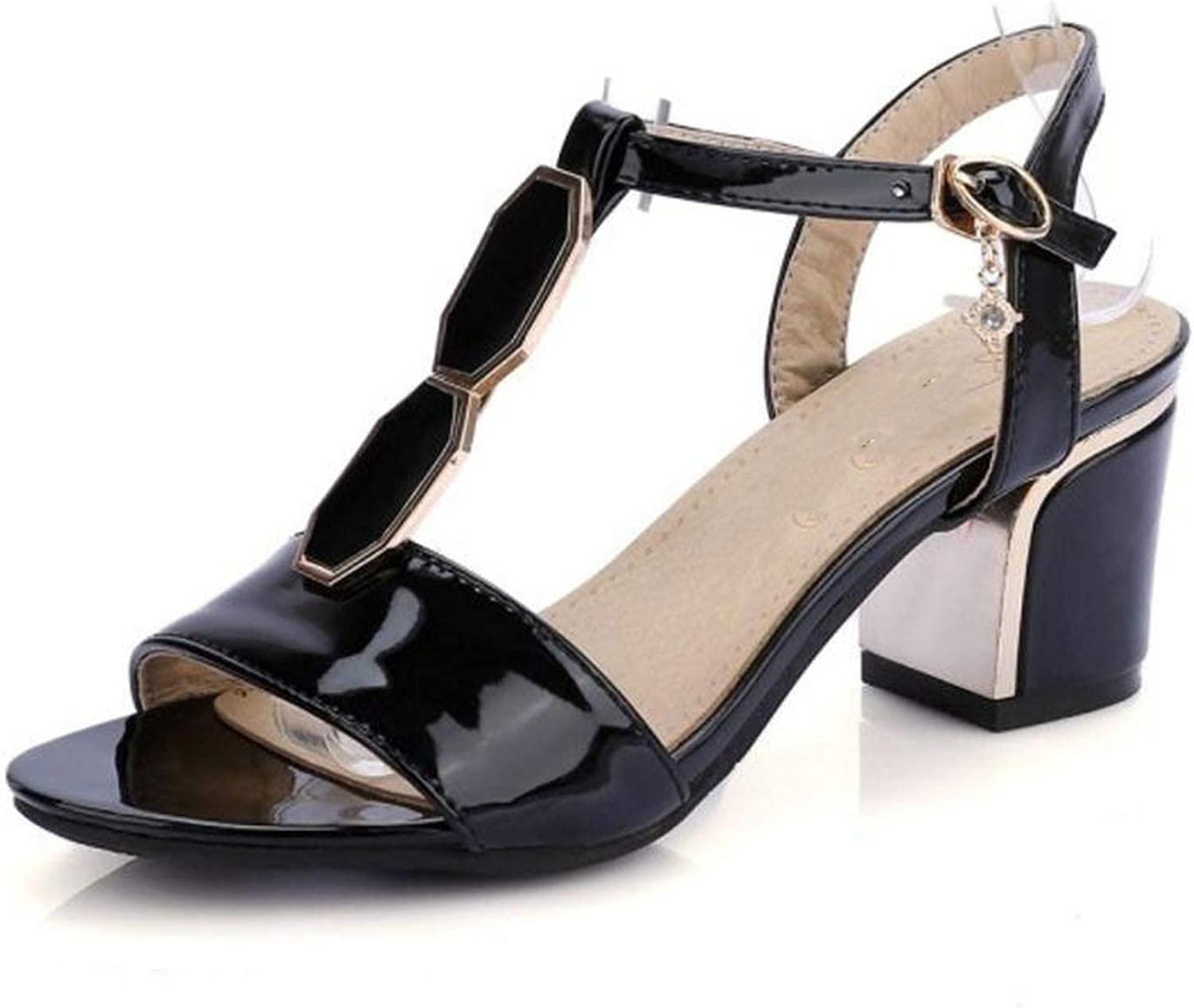 Fairly shoes Squared Heels Thin Belt Patent Leather Summer shoes Fashion Sexy shoes,Black,3