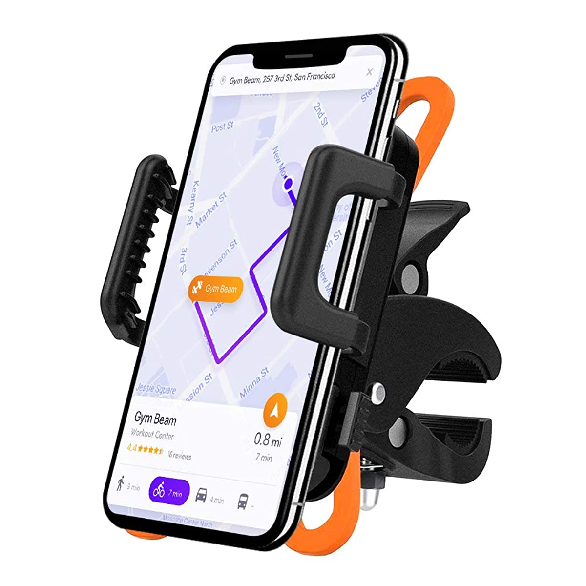 AmazeFan Universal Bike Phone Mount, Bike GPS Holder, 360°Rotation, Anti-Slip Motorcycle Phone Mount, Adjustable, Fits iPhone X, XR, 8 | 8 Plus, 7 | 7 Plus, 6s | 6s Plus, Galaxy S9, S8, S7 and More