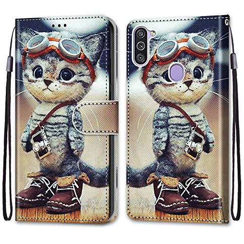 Nadoli Handyhülle Leder für Samsung Galaxy A11/M11,Bunt Bemalt Lustig Leder Schuhe Katze Trageschlaufe Kartenfach Magnet Ständer Schutzhülle Brieftasche Ledertasche Tasche Etui