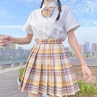 WEDFGX Gonna Scozzese a Pieghe a Vita Alta da Donna Estate Harajuku School Girl Dancing CuteMini A-Line Skirt Cosplay
