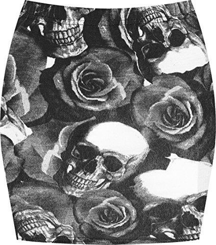 Espania Trading Damen Minirock, Stretch, figurbetont, elastisch, Jersey, kurz, Gr. 34-40 Gr. 40, Totenkopf-Rosen
