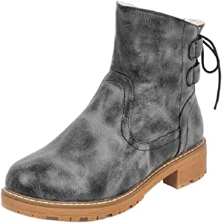 ELEEMEE Women Antiskid Ankle Boots Slip On